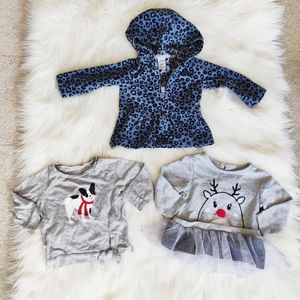 Carters blue leopard sweater & Christmas sweaters